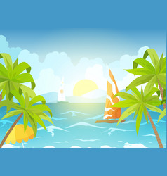 sea beach and sun loungers seascape vacation vector image