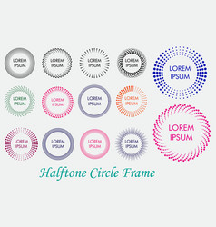 set circle halftone frame or colored halftone vector image