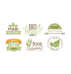 set food labels with text gluten free vector image