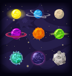 set of fantastic planets on cosmic background vector image