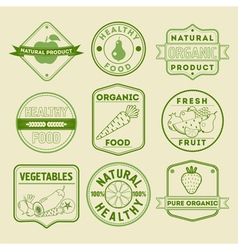 Set of Healthy Food Badges and Logos vector