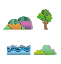 set of nature paper icons vector image