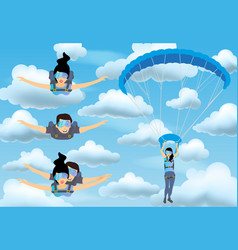 set of skydivers parachutist characters skydiver vector image