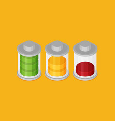 set of stylish isometric battery charge icons vector image