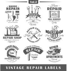 Set of vintage repair labels vol2 vector