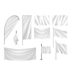 set white flags banners streamers template vector image