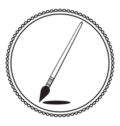 Silhouette paintbrush in black and white vector image