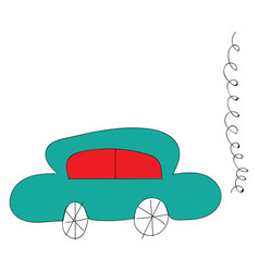 simple of a blue car with red windows on whiye vector image
