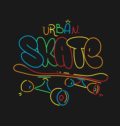 skate board typography print t-shirt graphics vector image