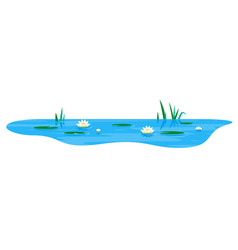 Small pond with water lily vector