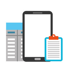 smartphone clipboard document contract business vector image