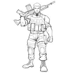 Soldier line art vector