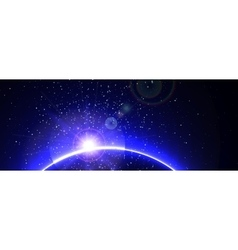 Space background with blue light from behind vector