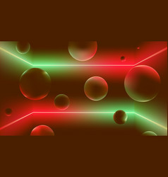 space with neon rays and soaring balls flying vector image