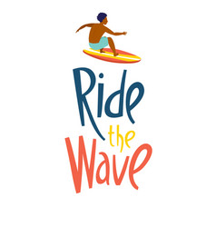 surfing guys in ocean ride wave lettering vector image
