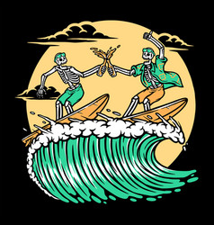 surfing while enjoying beer vector image