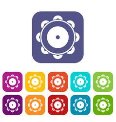 Tambourine icons set vector
