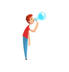 Teen boy blowing soap bubble cartoon vector