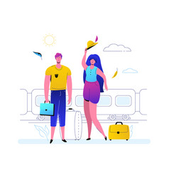 traveling by train - colorful flat design style vector image