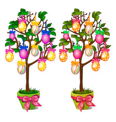 two trees in pots with colorful easter eggs vector image