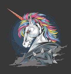 unicorn punk jacket full colour hair mohawk vector image