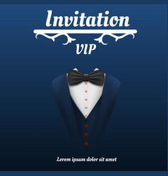 Vip invitation bowtie smoking concept background vector