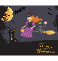 Witch and a cat flying on a broom against night vector