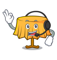 With headphone table cloth mascot cartoon vector