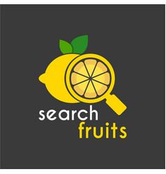 yellow lemon search logo design template vector image