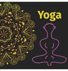 Yoga banner pose with mandala background vector