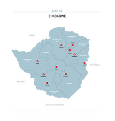 zimbabwe map with red pin vector image