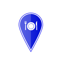 blue map pointer with restaurant icon vector image vector image