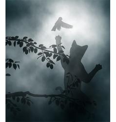 Cat ambushing songbird vector image