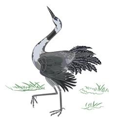 Dancing-crane vector image