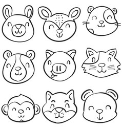doodle of animal cute funny style vector image vector image