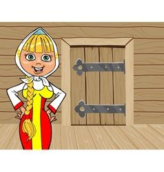 cartoon girl in Russian national dress talking on vector image vector image
