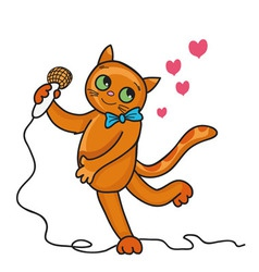 Cat sings a love song vector image