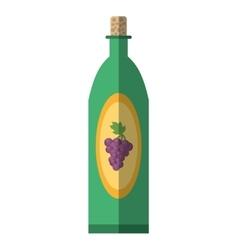 green wine bottle grape elegance drink bar shadow vector image