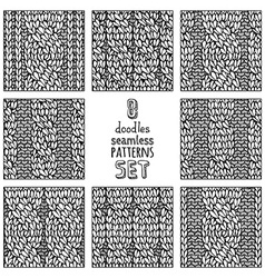 set of various doodles cable stitch patterns vector image vector image