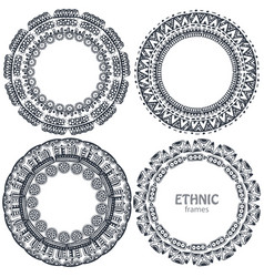 beautiful round frames set with hand drawn ethnic vector image vector image