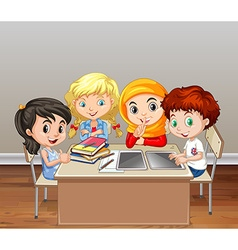 Children working in group in classroom vector image vector image