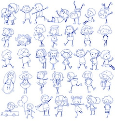 Doodle design of people doing different activities vector image vector image