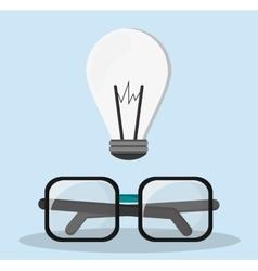 Glasses bulb idea innovation creative vector