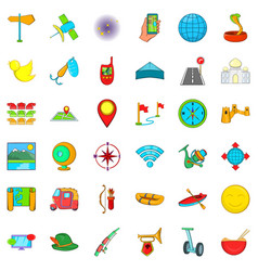 leisure activites icons set cartoon style vector image vector image