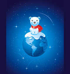 merry christmas dear planet poster with earth in vector image