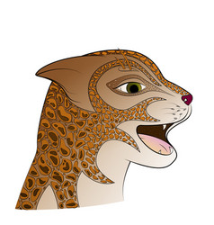 red head wild cat zen tangle feline face vector image