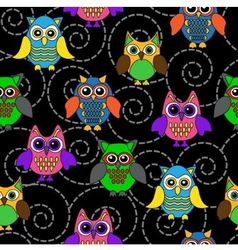 seamless background with curls and Cartoon owls vector image vector image