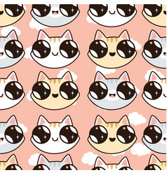seamless pattern with kawaii kittens vector image vector image