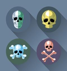 Skull and bones set flat style vector image
