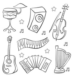 doodle of music element various vector image